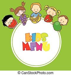 Children with fruit