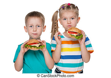 Children with hamburgers