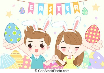 children with happy easter
