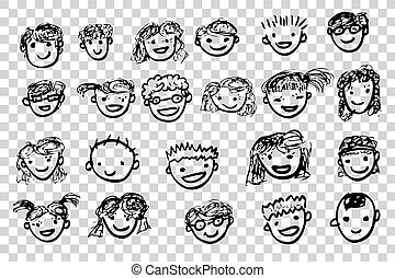 Children with Happy Face at transparent effect background