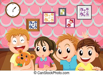 Children with happy face in the room