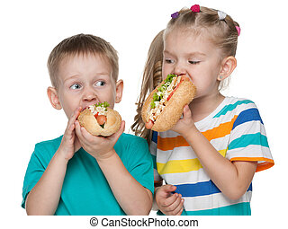 Children with hot dogs
