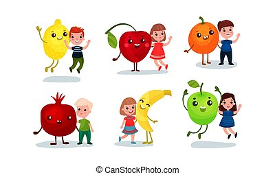 Children with huge humanized vegetables and fruits. Vector illustration.