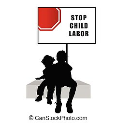 children with humain trafficking sign illustration...