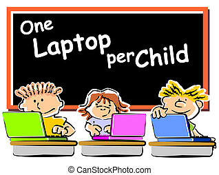Children with laptops at school