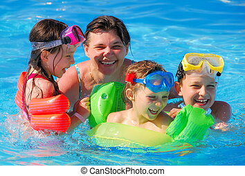 Children with Mother in Pool - Three children with their...