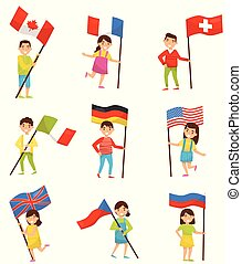 Children with national flags of different countries, holiday design elements for Independence Day, Flag Day vector Illustrations on a white background