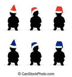 children with new year hat color illustration