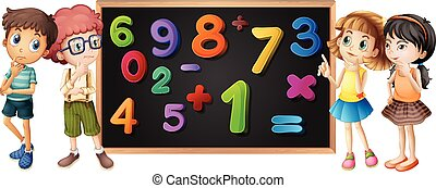 Children with numbers on blackboard