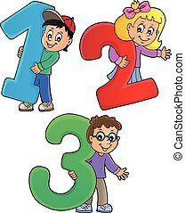 Children with numbers theme 1