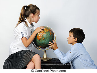 children with old globe