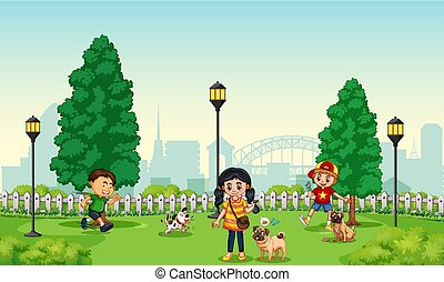Children with pet at the park