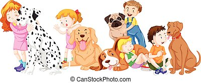 Children with pet dogs