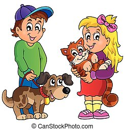 Children with pets theme 1 - eps10 vector illustration.