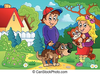 Children with pets theme 2 - eps10 vector illustration.