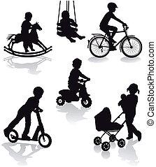 Children with playground equipment