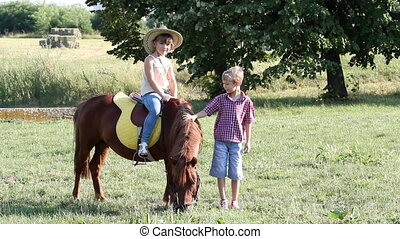 children with pony horse