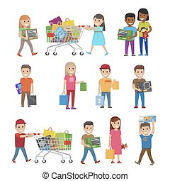 Children with Purchases Set of Icons on White