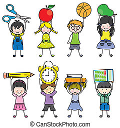 children with school objects
