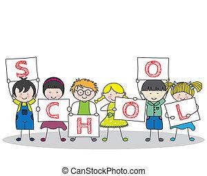 Children with school poster