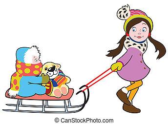 children with sledge