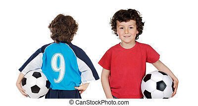 Children with soccerball isolated over white