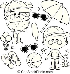 Children with swimsuits and hats. Beach, summer and vacation design elements. Black and white coloring book page