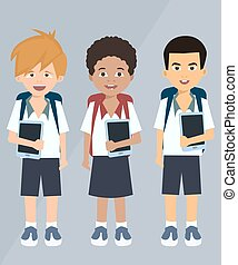 children with tablets vector cartoon