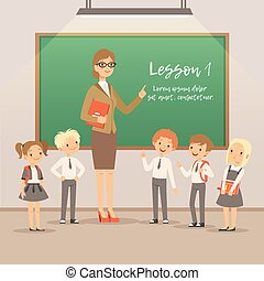 Children with teacher on the lesson in classroom. Vector school background