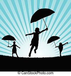 children with umbrella in nature illustration