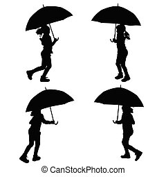 children with umbrella silhouette illustration