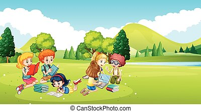 Children working and reading book in the park