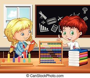 Children working in the classroom