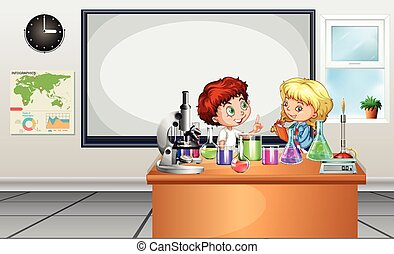 Children working on lab experiment