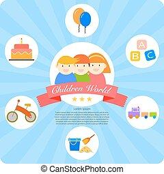 children world cartoon infographics