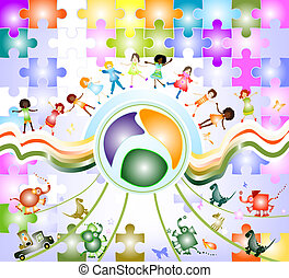 children world - children playing; composition with kids,...