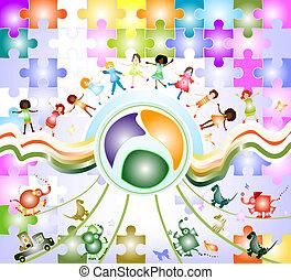 children world - children playing; composition with kids, ...
