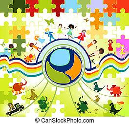 children world - children playing; composition with kids,...