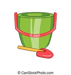 Children's bucket with shovel icon, cartoon style