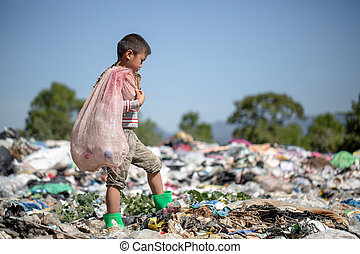 children.child, 暮らし, ごみ, 男の子, 貧しい, 埋立て地, 概念, labor., サイト。, ...