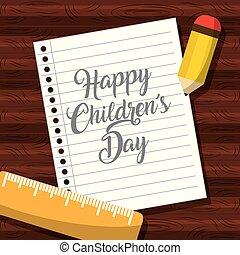 childrens, 木製である, ノートペーパー, テーブル, 日, 幸せ