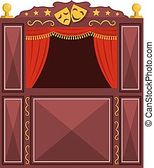 Children's a puppet theater on a white background. Vector illustration of a puppet show with