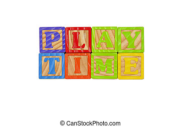 Childrens Alphabet Blocks spelling the words Play Time