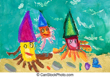 Children's Art - Photograph image of a 6 year old child's...