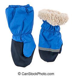 Children's autumn-winter mittens on a white background