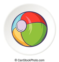Childrens ball icon, cartoon style
