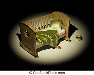 Children\'s bed. 3d