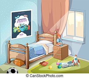 Childrens bedroom interior in cartoon style. Vector illustration