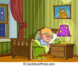 Childrens bedroom - The boy sleeps in the bedroom, vector