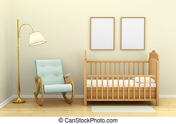 Children's bedroom with a crib, chair and floor lamp,